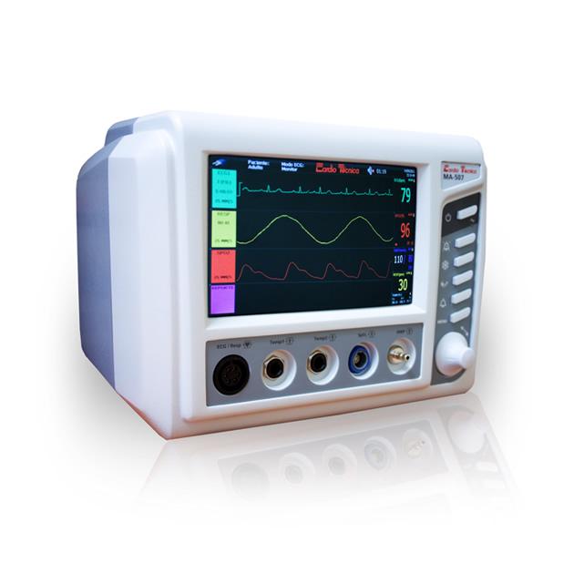 Monitor Veterinario Cardiotecnica MA507Vet-4 ECG/RESP/TEMP/SPO2/NIBP