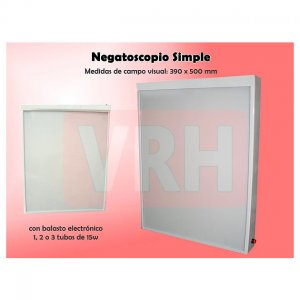 Negatoscopio Metalico simple con un Tubo 390x500x60mm VRH4010