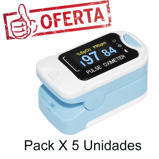 Pack X 5 Oximetro de Dedo Adulto Contec CMS50N
