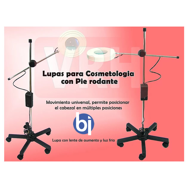 Lupa LED de Pie rodante c/base cinco patas Lente 130 mm bifocal VRH553